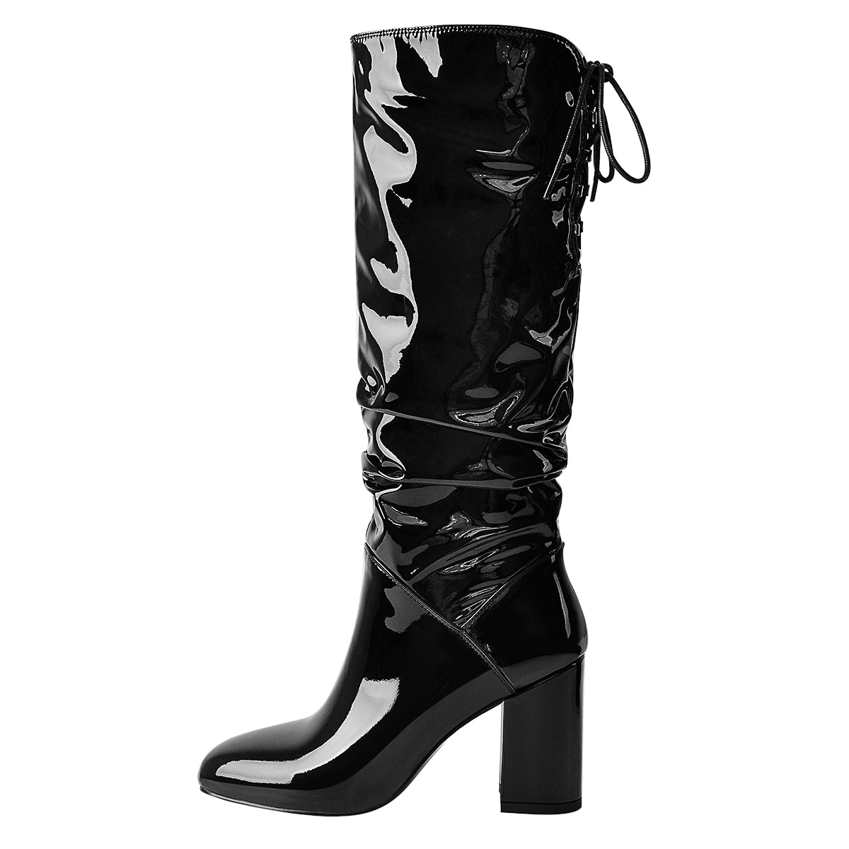 Black Patent Leather Chunky Heels Boots