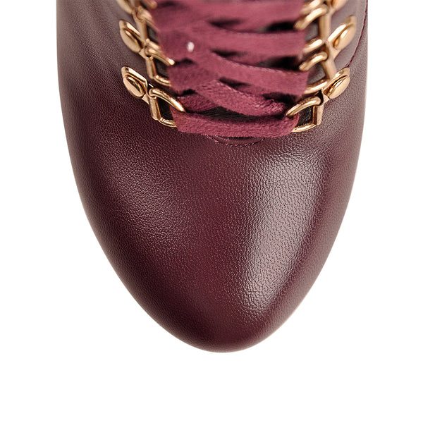 Burgundy Lace Up Platform Boots