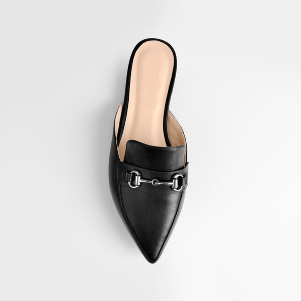 Black Buckle Mule shoes