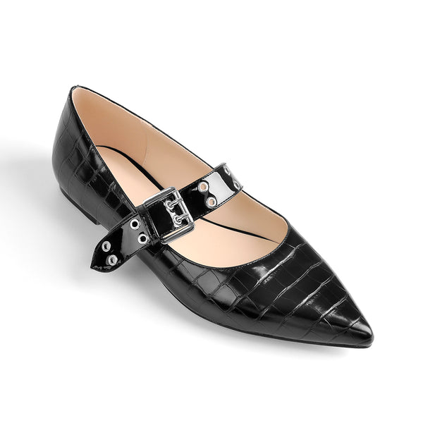 Black Stone Strap Flat Pumps