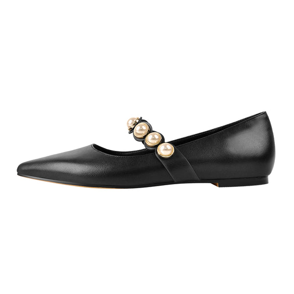 Black Pearl Strap Flat Pumps