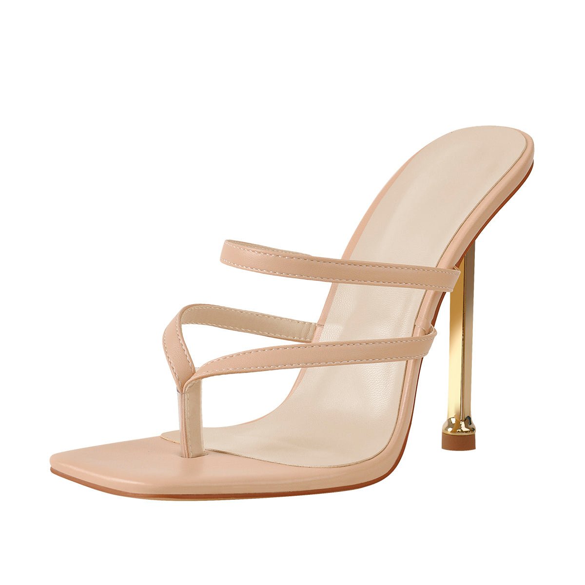 10cm Square Toe Matte Patent Leather Baby Pink Strap High Metal Heels Sandals