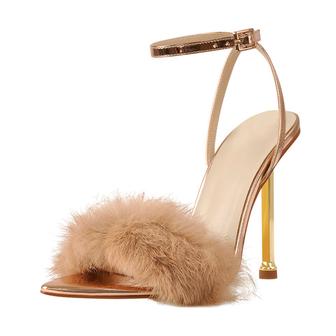 11cm Rose Gold Feather Strap High Heel Stilettos Sandals