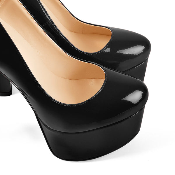 Black Round Toe Black Ankle Chain Platform Pumps