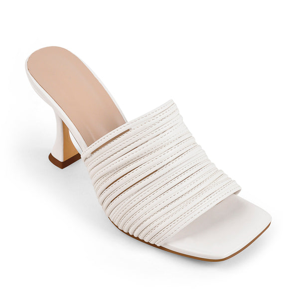 White Square Toe Open Toe High Heels Sandals Mules