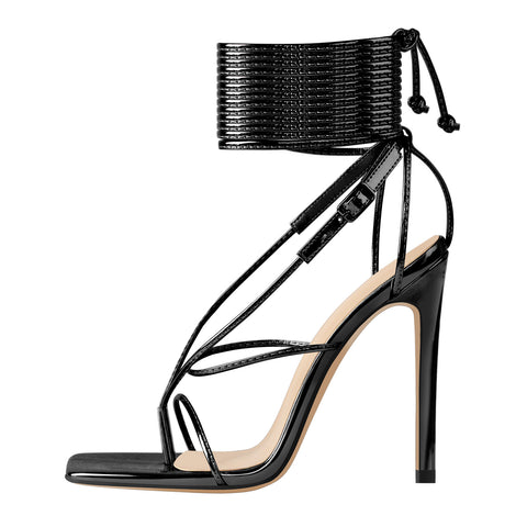 Black Square Toe Strap High Heel Stiletto Sandals