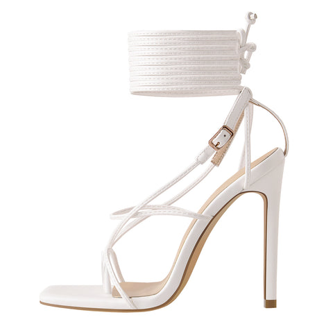 White Square Toe Ankle Strap Stiletto High Heel Sandals