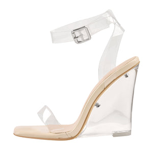 Ankle Square Toe Clear Band High Heel Wedge Sandals