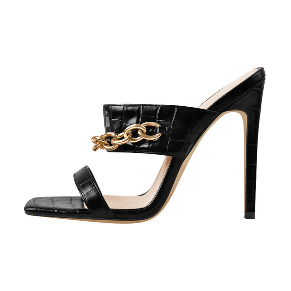 Black Ankle Square Toe Metal Chain High Heel Stiletto Sandals