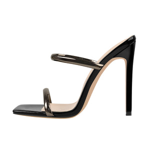 Black Square Toe High Heel Stiletto Sandals
