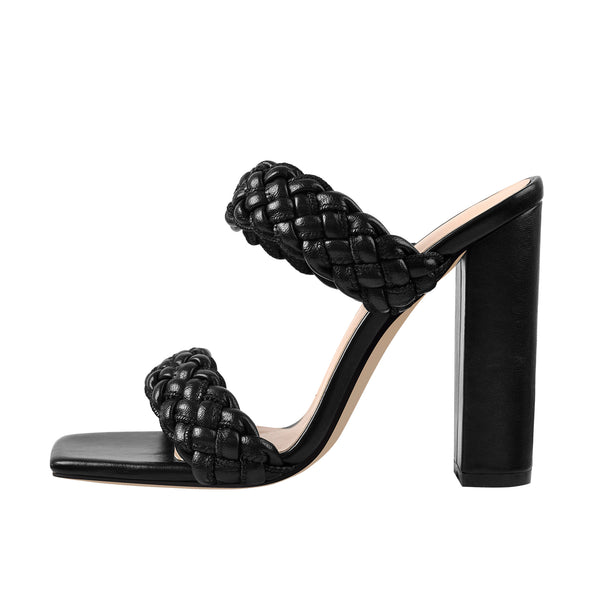 Black Open Toe Chunky High Heel Mules Sandals