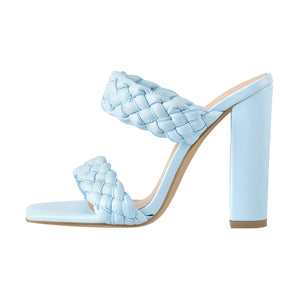 Blue Open Toe Chunky High Heel Mules Sandals
