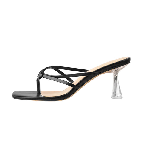 Black Open Toe Clear High Heel Slipper Sandals
