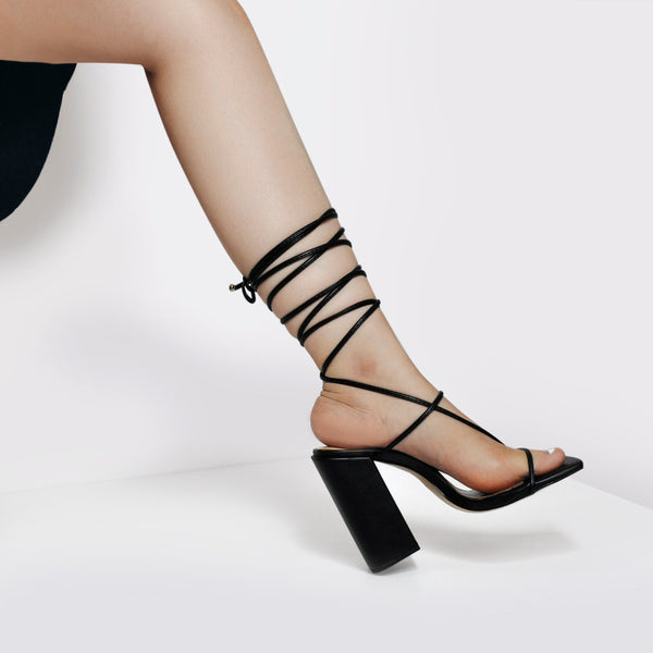 Black Ankle Strap Square Toe Chucky Heels Sandals