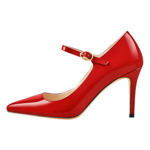 8.5CM Red Mary Jane Patent Leather Pointed Toe High Heel Pumps