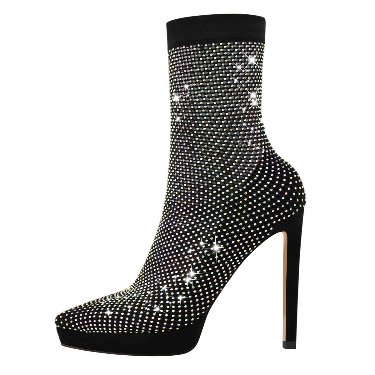 Clear Fishnet Platform Pointed Toe Slim High Heels Rhinestone Sandals Boots