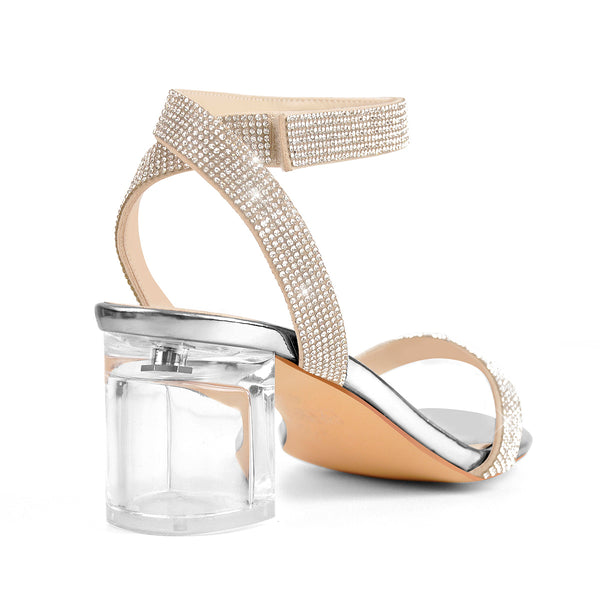 Rhinestone Strap Clear Block Chunky Sandals