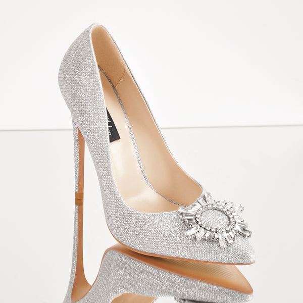 Silver Diamante Buckle Pointed Toe High Heel Pumps