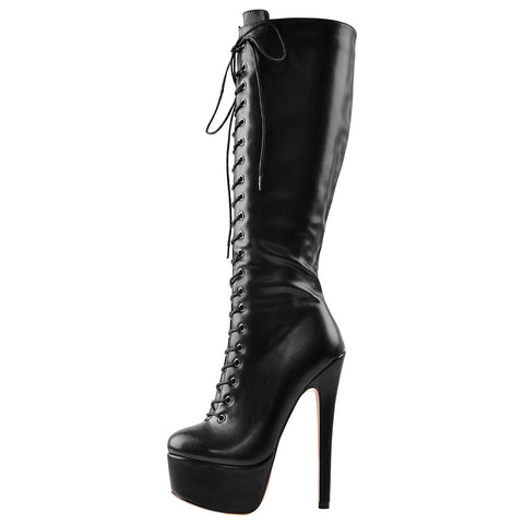 Platform Lace-Up High Over The Knee High Heel Boot