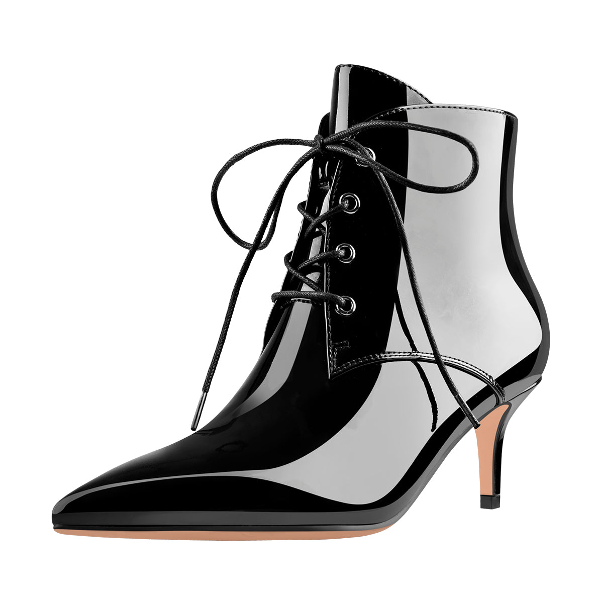 Patent Leather Pointed Toe Lace-up