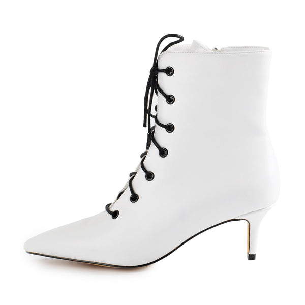 White Heeled Work Boots Kitten Heel Ankle Boots