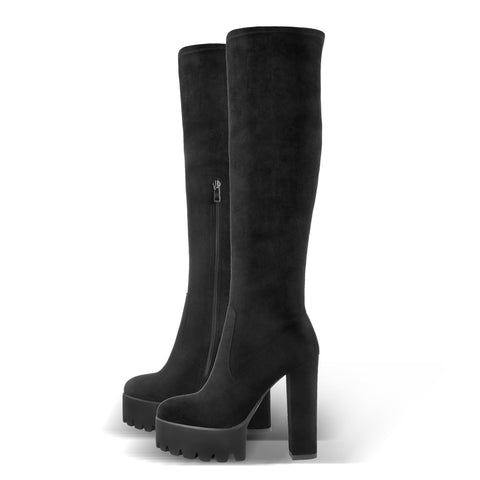 Platform Chunky Heels Round Toe Black Suede Stretch Over The Knee Boots