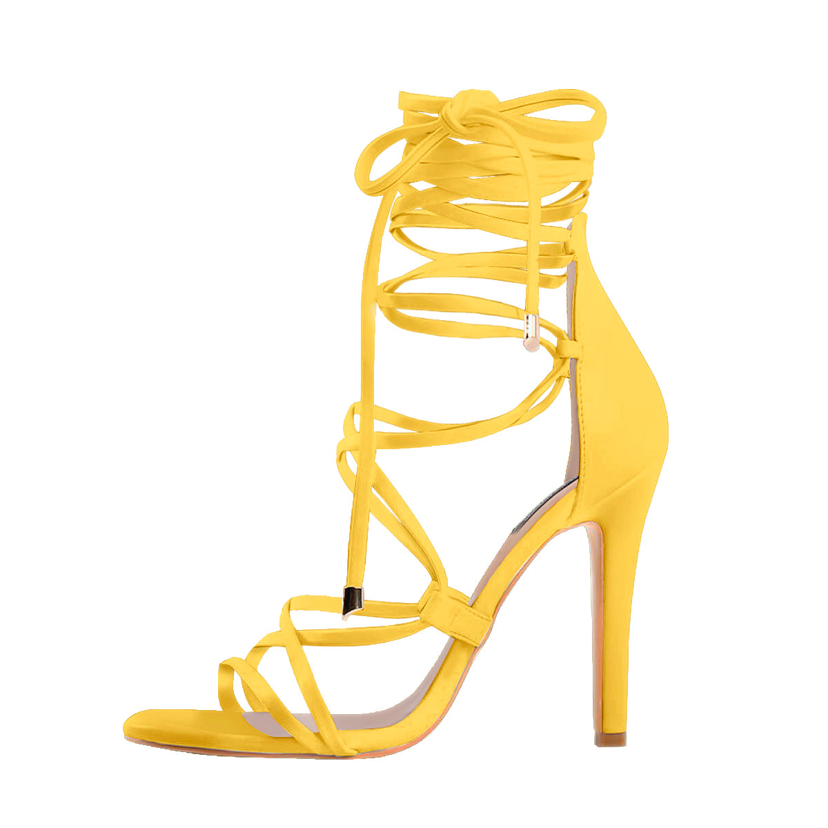 Lace up High Heels Yellow Gladiator Stiletto Sandals