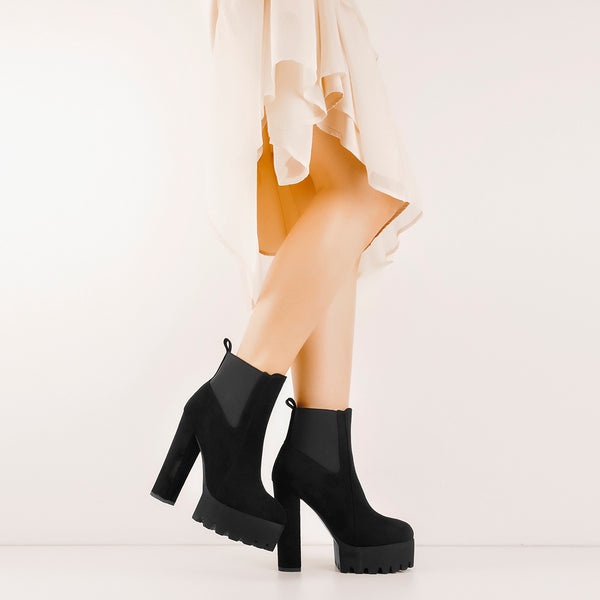 Black Suede Chunky High Heel Ankle Boots