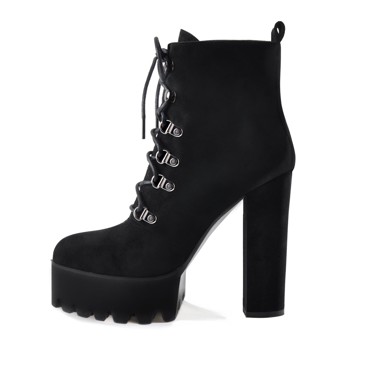 Black Heeled Work Boots Cool Booties