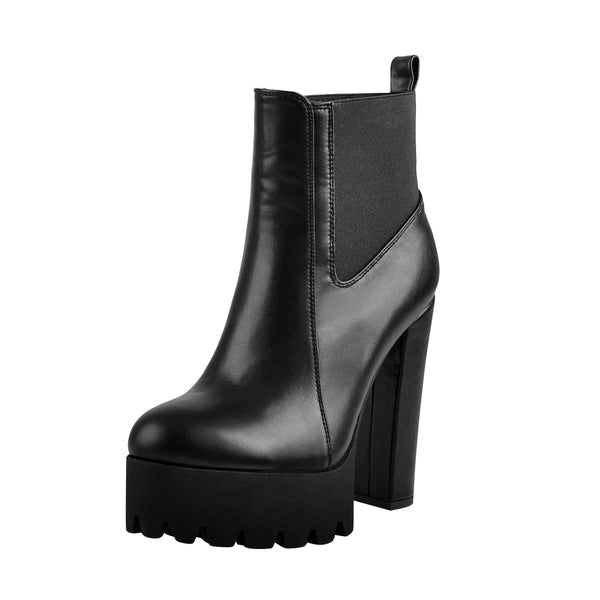 Round Toe Matte Black Leather Platform Chunky High Heel Ankle Boots