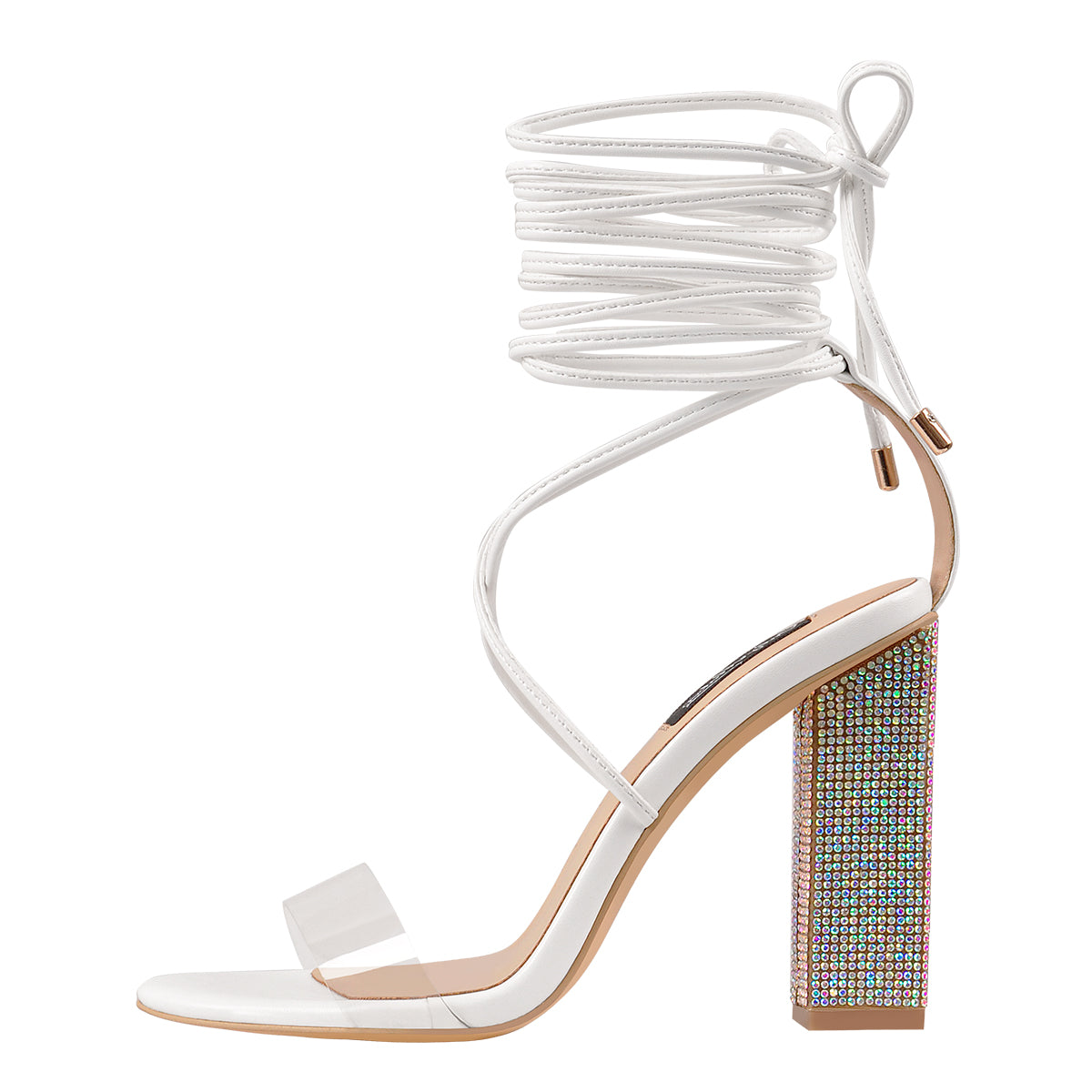 Rhinestone Chunky High Heel White Lace up Sandals
