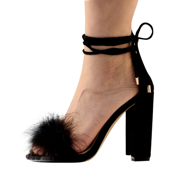 Fluffy Marabou Feather Gladiator Chunky High Heel Sandals