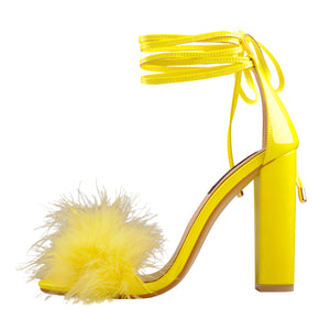 Fluffy Feather Gladiator Lace-up Chunky High Heel Sandals