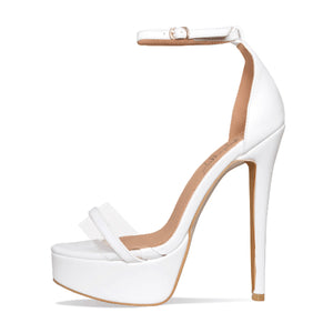 White Platform Ankle Strap High Heels Women Concise Sandals