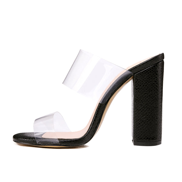 Clear Double Straps Snake Pattern Chunky Heels Mules