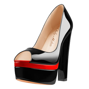 Black Peep Toe Double Platform Stiletto High Heel Pumps