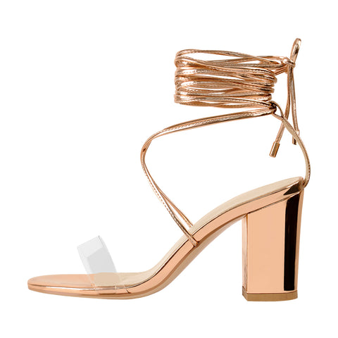 8cm Rose Gold Ankle Strap Square Toe Chucky Heels Sandals