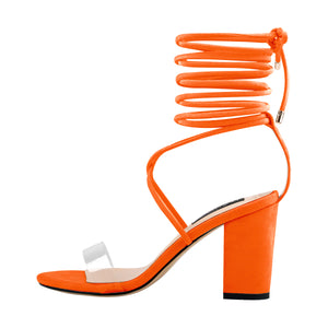 Clear Band Gladiator Chunky High Heel Orange Open Toe Lace Up Strappy Heeled Sandals