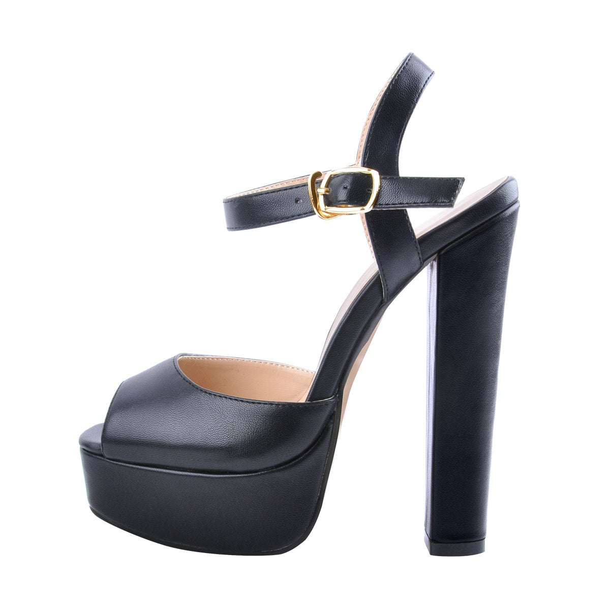 Peep Toe Platform Black Chunky High Heel Sandals