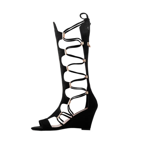 Lace Up Gladiator Cutout Wedge Sandal Boots