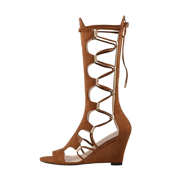 Lace Up Gladiator Cutout Brown Wedge Sandal Boots
