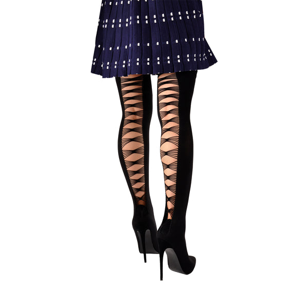 Thigh High Pointy Toe Stiletto Stretch Back Hollow Out Stocking Booties