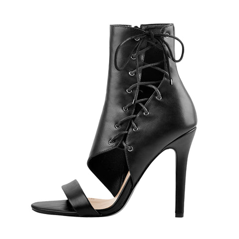 Lace Up Cutout High Heel Sandal Boots