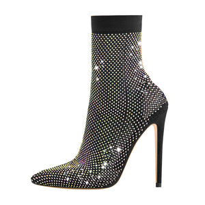 Clear Fishnet Pointed Toe Slim High Heels Rhinestone Sandals Boots