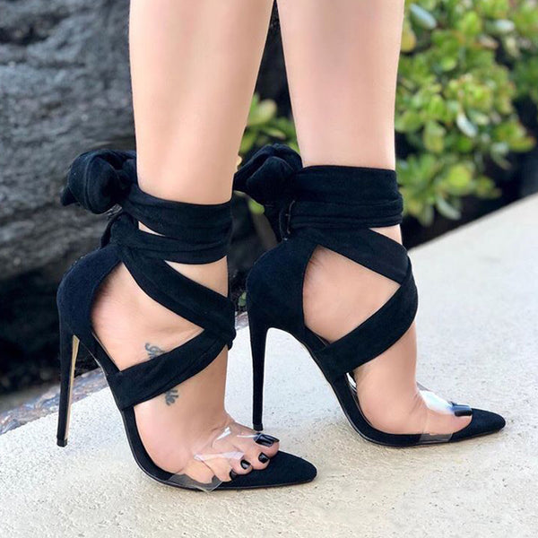 Clear Band Lace Up High Heel Sandals