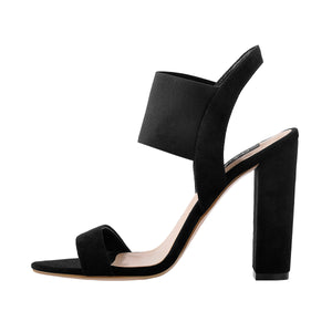Chunky High Heel Singback Black Sandals