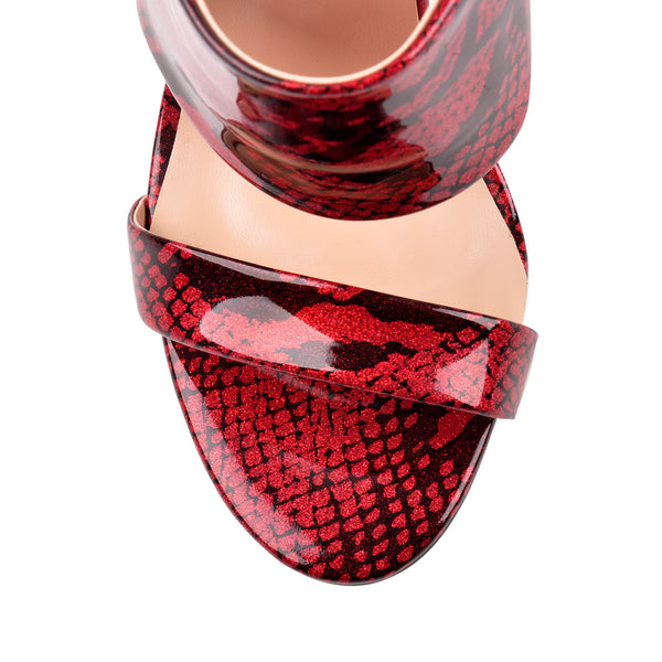 Two Band Snake Red Sandals High Heel Mules