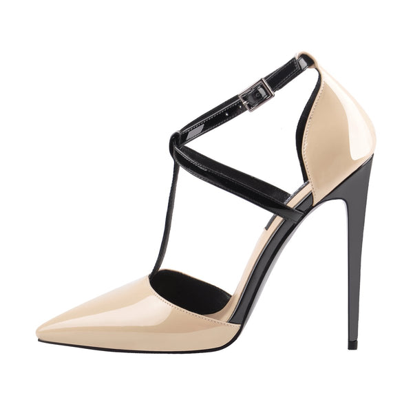 Womens Pointed Toe T-strap Stiletto High Heel Pumps