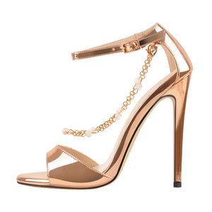 Pearl Metal Chain Ankle Strap Open Toe Sandals
