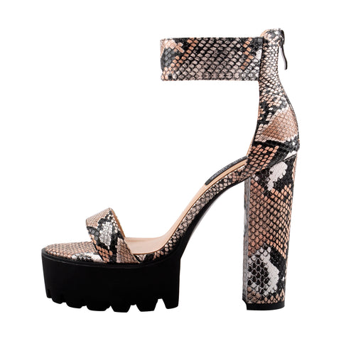 Snake Print Ankle Strap Chunky Heel Sandals